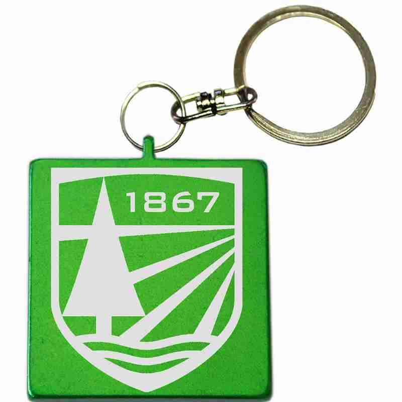 Green Square Shaped Anodized Aluminum Key Chain with Laser Engraved Custom Logo Personalized