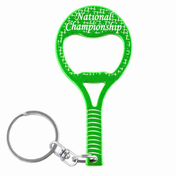 Green Tennis Raquet Shaped Anodized Aluminum Key Chain Bottle Opener with Laser Engraved Custom Logo Personalized