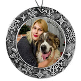 Round Shape custom personalized plastic ornament with photo and text