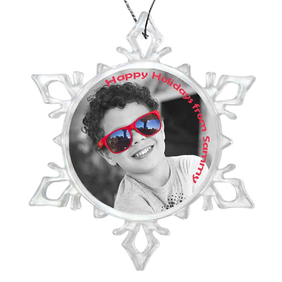 Star Snowflake Shape custom personalized plastic ornament with photo and text
