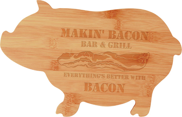 Bamboo Pig custom shaped cutting board laser engraved personalized text kitchen accessory house warming closing gift
