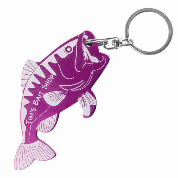 Purple Fish Shaped Anodized Aluminum Key Chain Bottle Opener with Laser Engraved Custom Logo Personalized