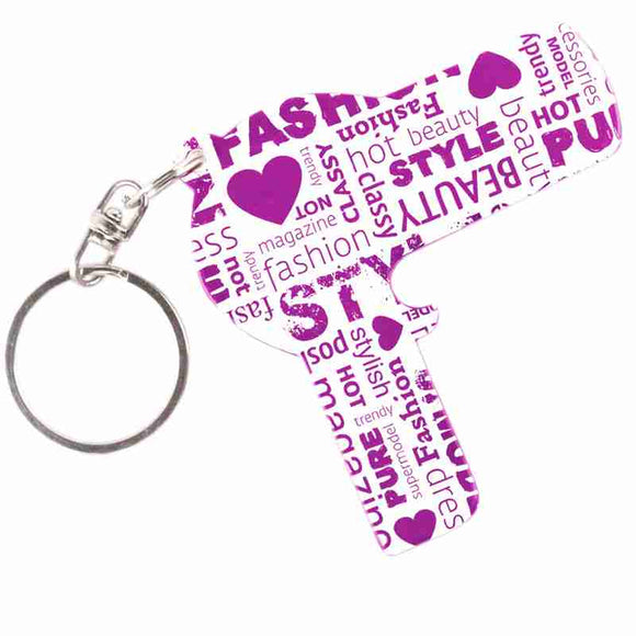 Purple Hairdryer Shaped Anodized Aluminum Key Chain Bottle Opener with Laser Engraved Custom Logo Personalized