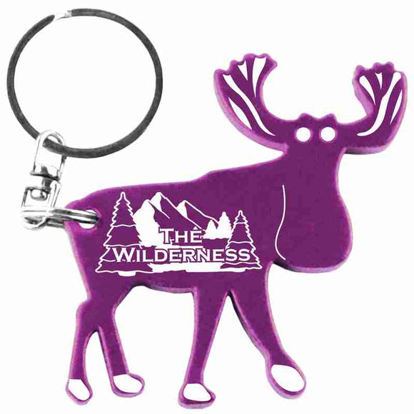Purple Moose Shaped Anodized Aluminum Key Chain Bottle Opener with Laser Engraved Custom Logo Personalized