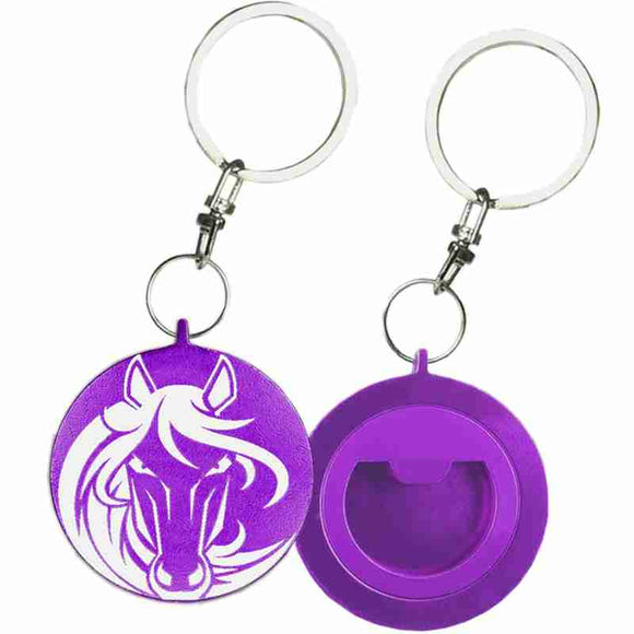 Purple Round Shaped Anodized Aluminum Key Chain Bottle Opener with Laser Engraved Custom Logo Personalized