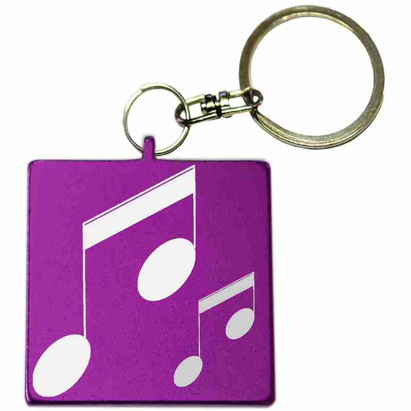Purple Square Shaped Anodized Aluminum Key Chain with Laser Engraved Custom Logo Personalized