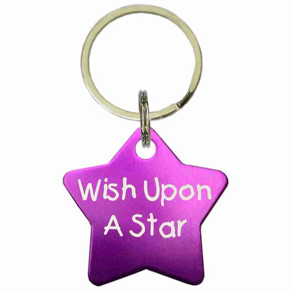 Purple Star Shaped Anodized Aluminum Key Chain with Laser Engraved Custom Logo Personalized