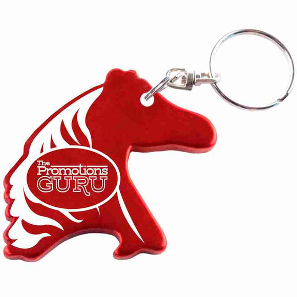 Red Horse Head Shaped Anodized Aluminum Key Chain Bottle Opener with Laser Engraved Custom Logo Personalized