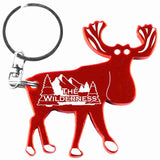 Red Moose Shaped Anodized Aluminum Key Chain Bottle Opener with Laser Engraved Custom Logo Personalized