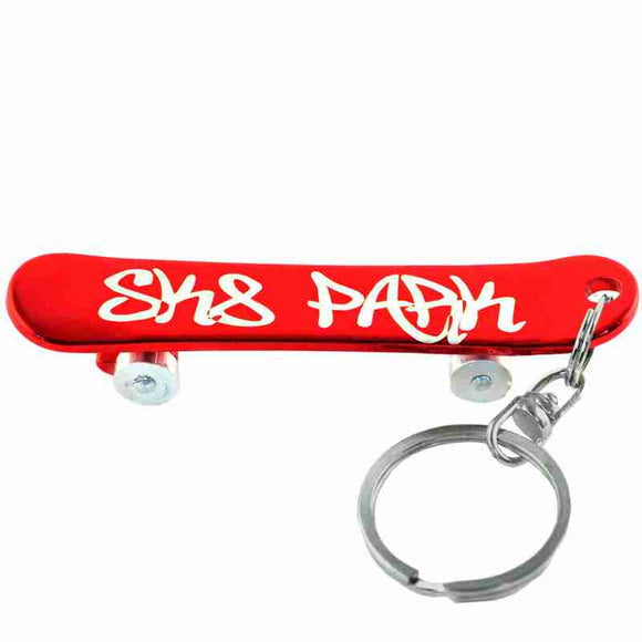 Red Skateboard Anodized Aluminum Key Chain Bottle Opener with Laser Engraved Custom Logo Personalized