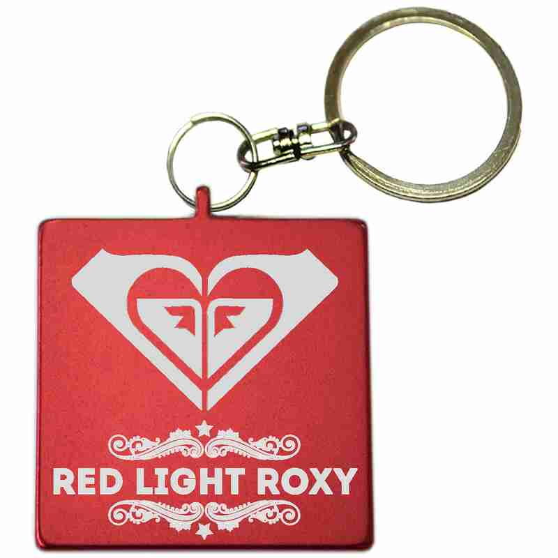 Red Square Shaped Anodized Aluminum Key Chain with Laser Engraved Custom Logo Personalized