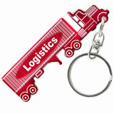Red Semi Truck Tractor and Trailer Shaped Anodized Aluminum Key Chain with Laser Engraved Custom Logo Personalized