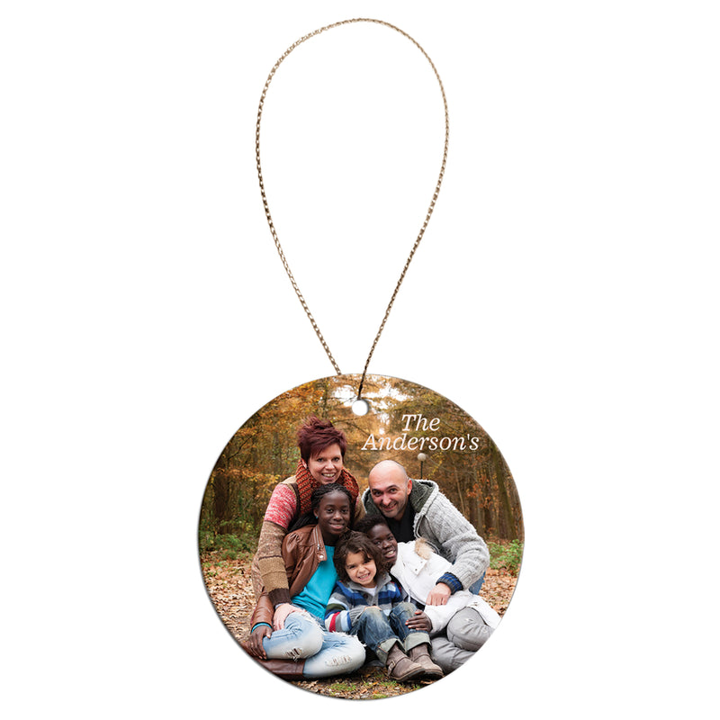Round Shape custom personalized ceramic ornament with photo and text