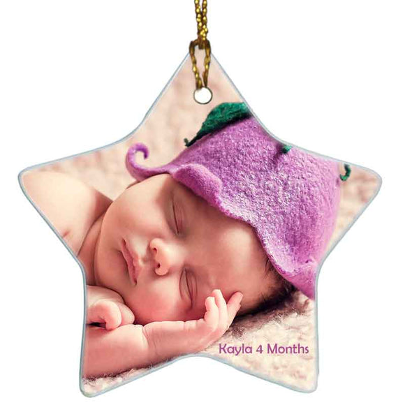 Star Shape custom personalized ceramic ornament with photo and text