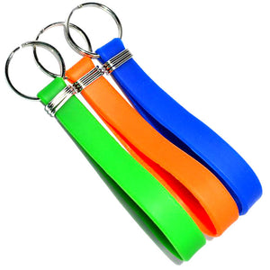 blank silicone rubber key chain wristbands