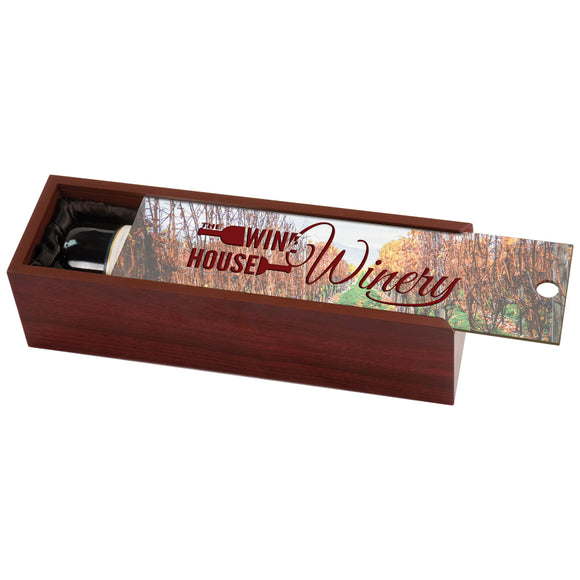Rosewood Finish Wine Box with Personlized Lid