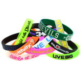 Colorfill silicone rubber wristband printed with ink