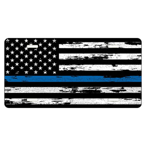 Thin Blue Line Distressed Flag