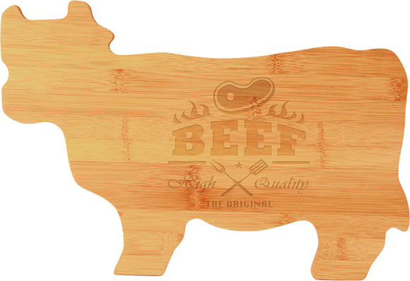 Bamboo Cow custom shaped cutting board laser engraved personalized text kitchen accessory house warming closing gift