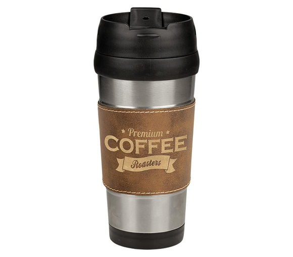 16oz Leatherette Travel Mug
