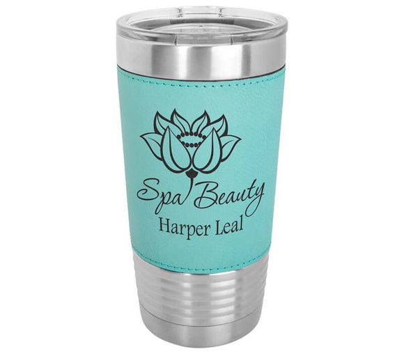 20 oz Leatherette Tumbler with Clear Lid