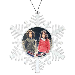 Snowflake Shape custom personalized plastic ornament with photo and text