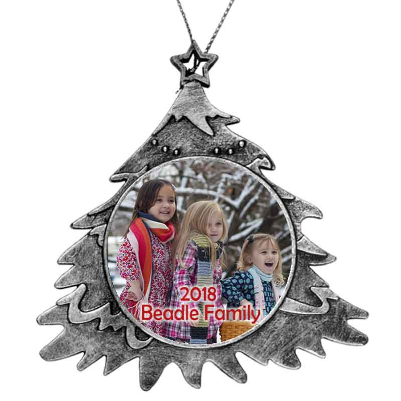 Tree Shape custom personalized plastic ornament with photo and text