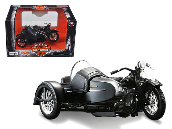 1948 Harley Davidson FL with Side Car Black 1/18 Diecast Motorcycle Model by Maisto