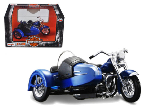 1952 Harley Davidson FL Hydra Glide with Side Car Blue with Black 1/18 Diecast Motorcycle Model by Maisto