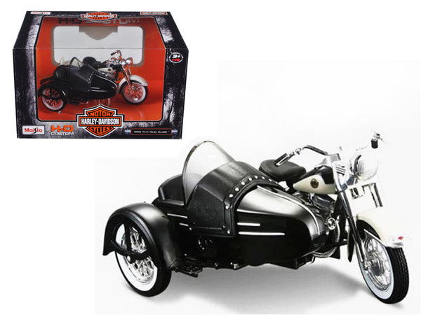 1958 Harley Davidson FLH DUO Glide with Side Car Black with White 1/18 Diecast Motorcycle Model by Maisto
