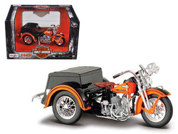 1947 Harley Davidson Servi-Car Black with Orange HD Custom 1/18 Diecast Motorcycle Model by Maisto