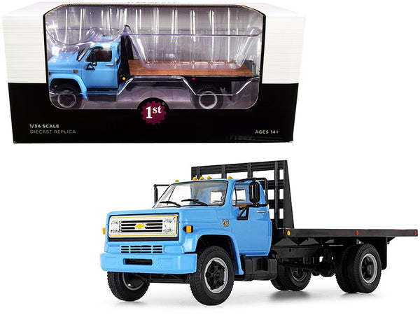 Chevrolet C65 Flatbed Truck Blue and Black 1/34 Diecast Model by First Gear