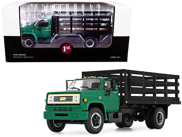 Chevrolet C65 Stake Truck Green and Black 1/34 Diecast Model by First Gear