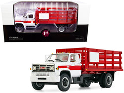 GMC 6500 Stake Truck White and Red 1/34 Diecast Model by First Gear