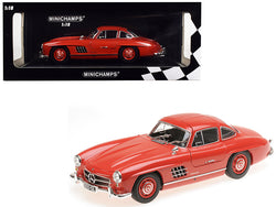 1955 Mercedes Benz 300 SL Red Limited Edition to 300 pieces Worldwide 1/18 Diecast Model Car by Minichamps