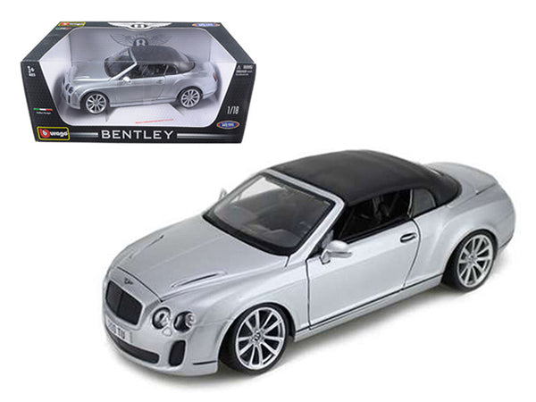 2012 2013 Bentley Continental Supersports Soft Top Silver 1/18 Diecast Model Car by Bburago