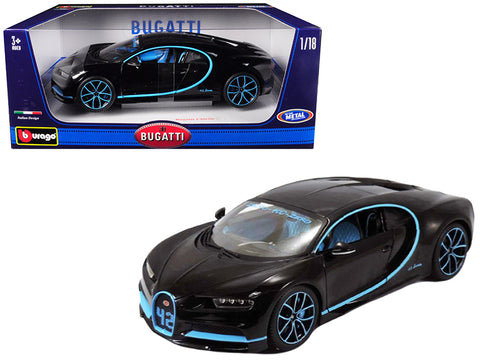 Bugatti Chiron 42 Black Limited Edition 1/18 Diecast Model Car by Bburago