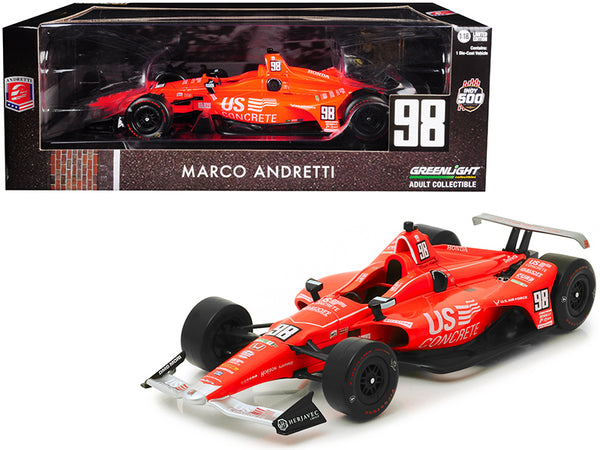"Honda Dallara Indy Car #98 Marco Andretti ""50th Anniversary Indianapolis 500 Champion"" Andretti Autosport ""US Concrete Tribute"" 1/18 Diecast Model Car by Greenlight"