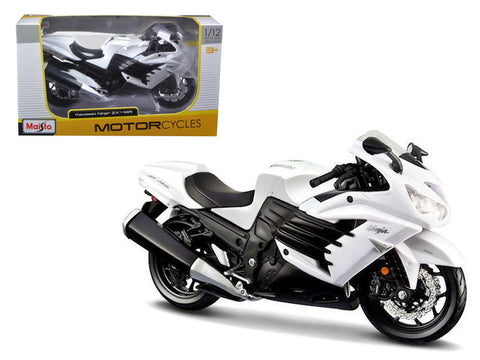 2012 Kawasaki Ninja ZX-14R White/Black 1/12 Diecast Motorcycle Model by Maisto