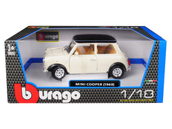 1969 Mini Cooper Beige with Black Top 1/18 Diecast Model Car by Bburago