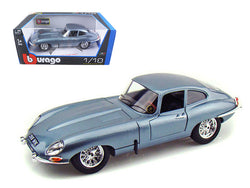 1961 Jaguar E Type Coupe Blue 1/18 Diecast Model Car by Bburago
