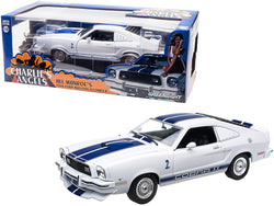 "1976 Ford Mustang II Cobra II (Jill Munroe's) White with Blue Racing Stripes ""Charlie's Angels"" (1976-1981) TV Series 1/18 Diecast Model Car by Greenlight"