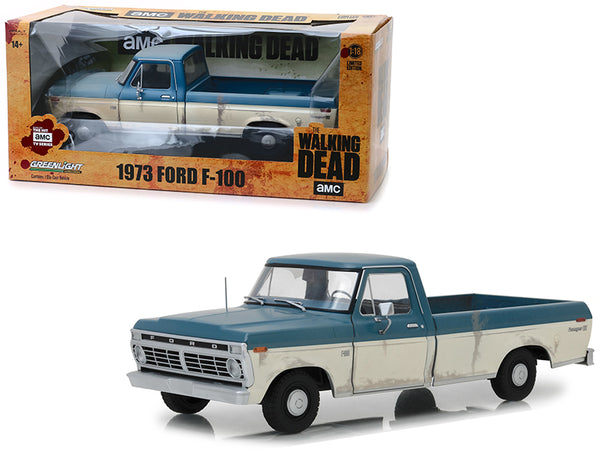 "1973 Ford F-100 Ranger XLT Pickup Truck Blue and Cream (Weathered) ""The Walking Dead"" (2010) TV Series 1/18 Diecast Model Car by Greenlight"