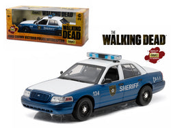 "Rick and Shane's 2001 Ford Crown Victoria Police Interceptor ""The Walking Dead"" (2010-2015 TV Series) 1/18 Diecast Model Car by Greenlight"