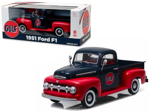 "1951 Ford F-1 Pickup Truck ""Gulf Oil"" 1/18 Diecast Model by Greenlight"