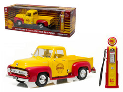 "1953 Ford F-100 Pickup Truck  ""Shell Oil"" with Vintage Gas Pump 1/18 Diecast Model by Greenlight"