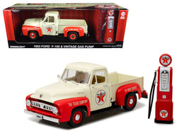 "1953 Ford F-100 Pickup Truck ""Texaco"" with Vintage Texaco Gas Pump 1/18 Diecast Model by Greenlight"