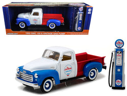 "1950 GMC 150 Pickup Truck ""Chevron"" with Vintage Gas Pump 1/18 Diecast Models by Greenlight"