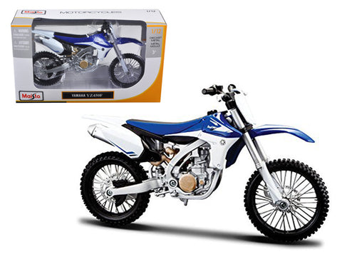 Yamaha YZ450F Blue and White 1/12 Diecast Motorcycle Model by Maisto