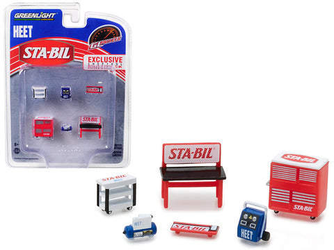 "Greenlight Muscle (6 Piece Set) Shop Tools ""STA-BIL and HEET"" 1/64 Model by Greenlight"